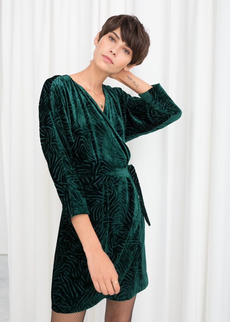 & Other Stories Velvet Wrap Dress $119
