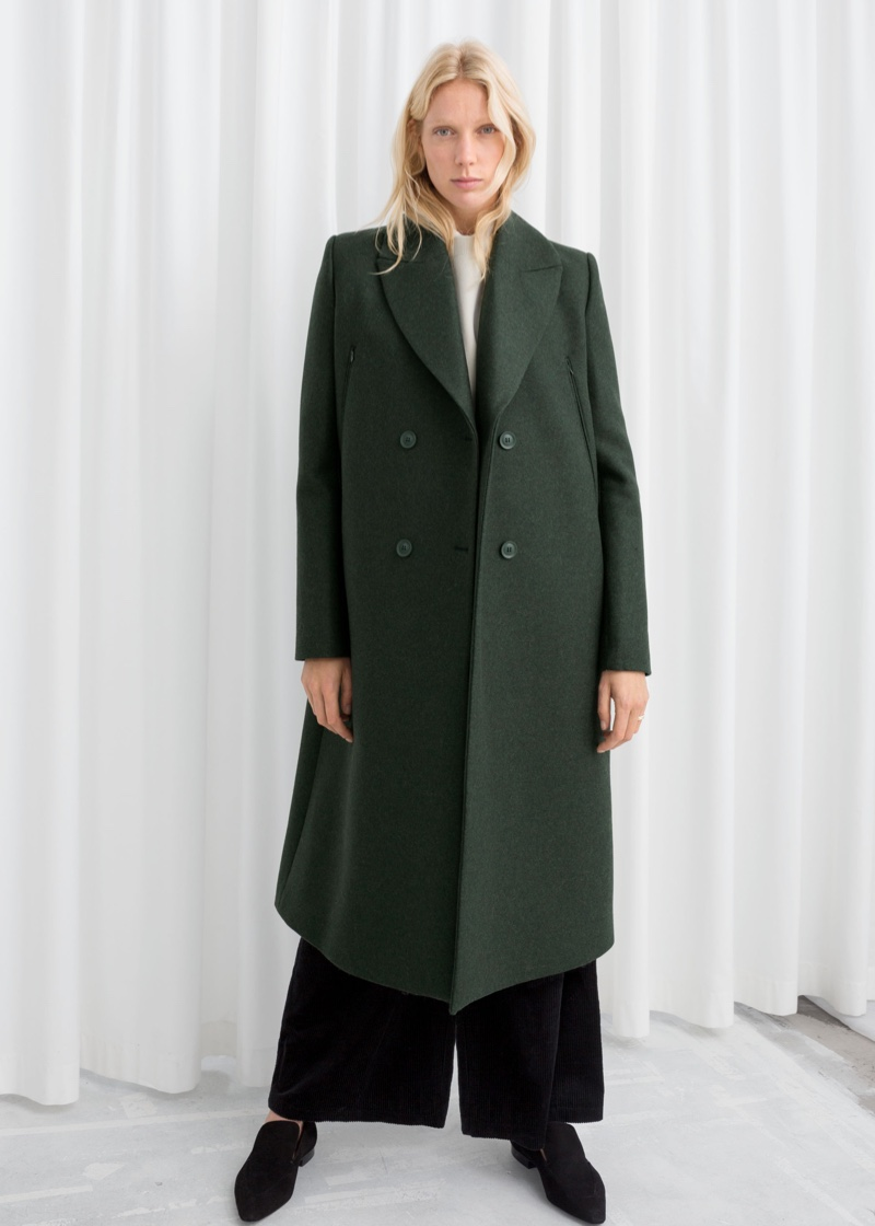 & Other Stories Wool Blend Cape Coat in Dark Green $279