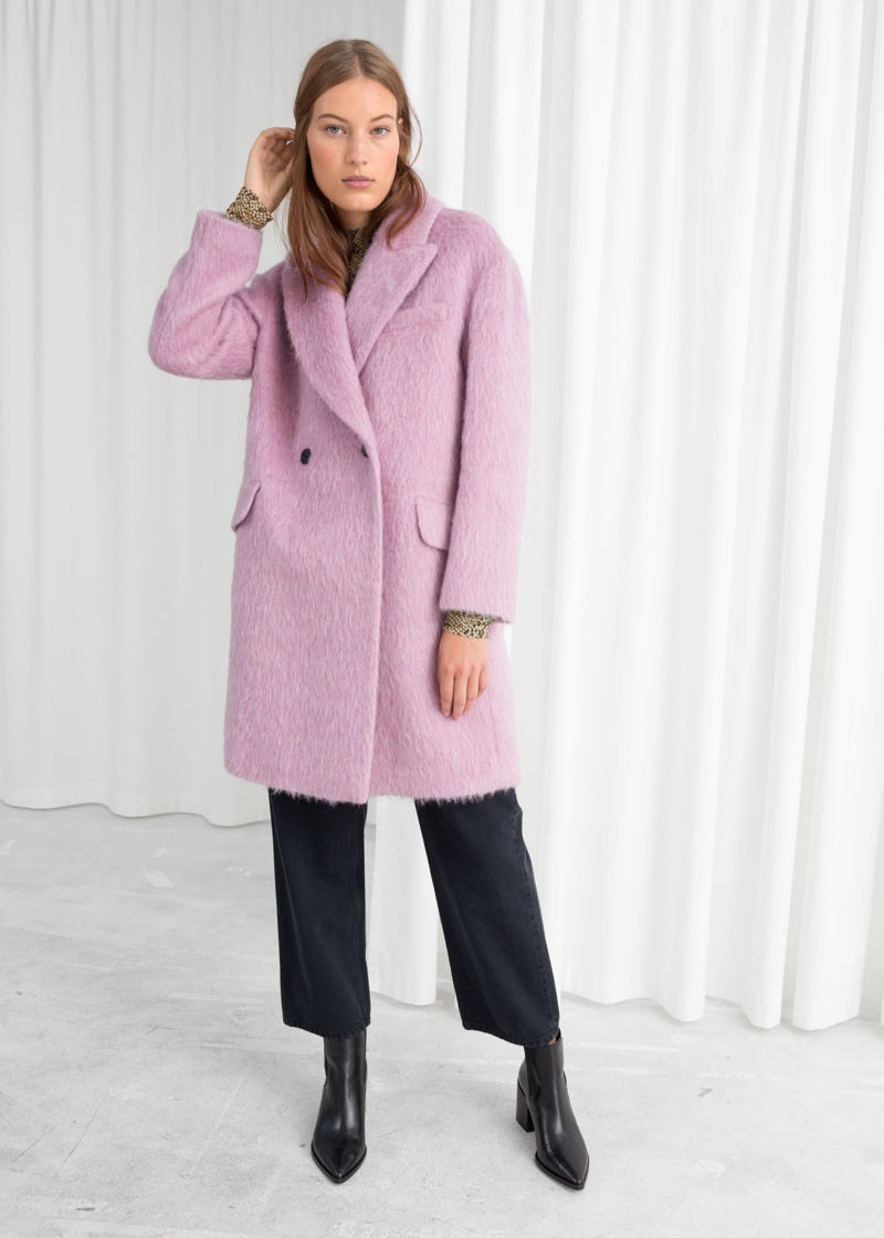& Other Stories Wool Blend Straight Coat in Pink $219