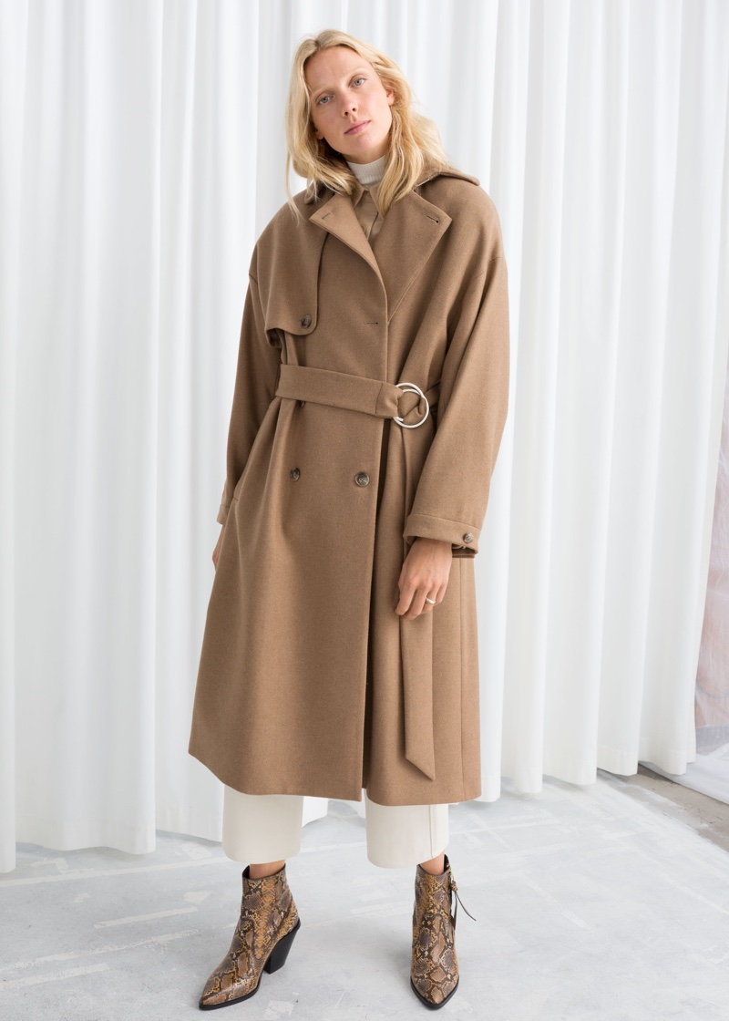 & Other Stories Wool Blend Tailored Coat in Camel $249