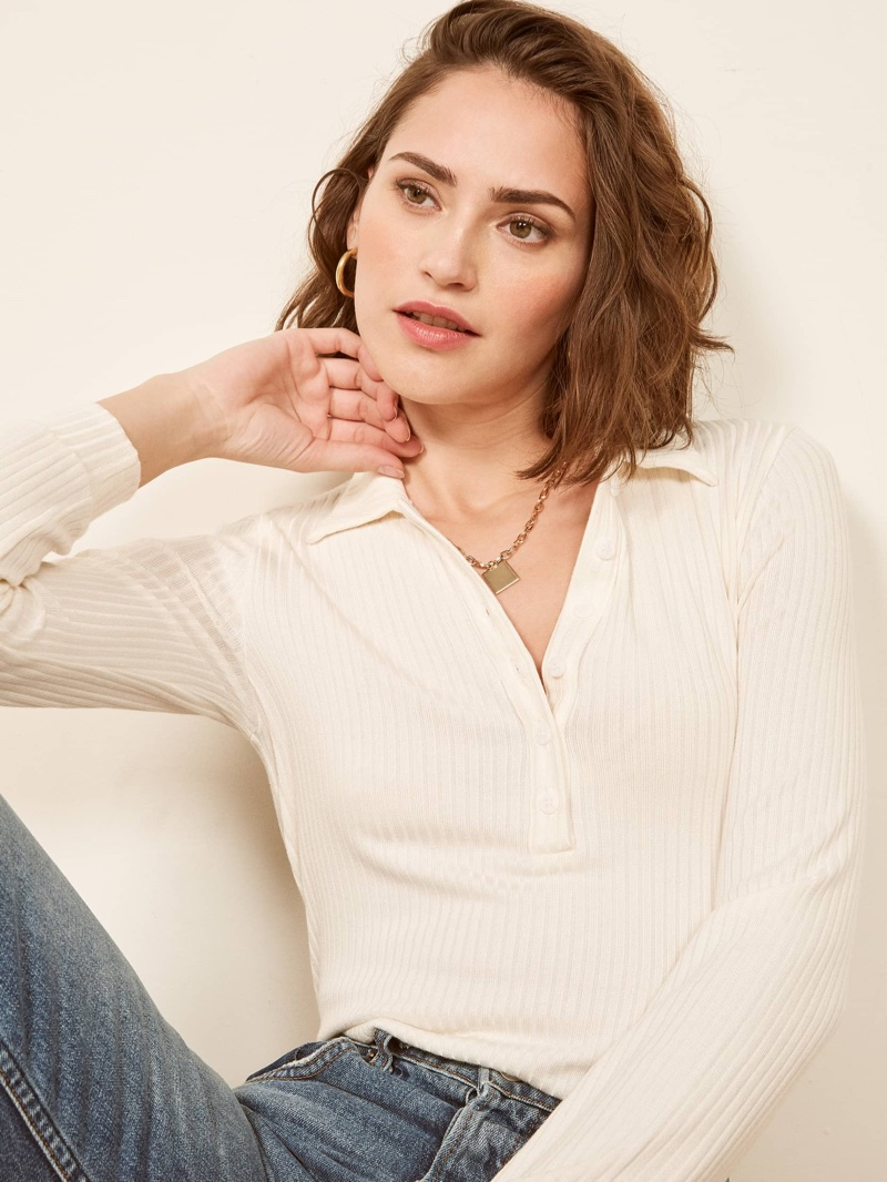 Reformation Anne Sweater in Ivory $78
