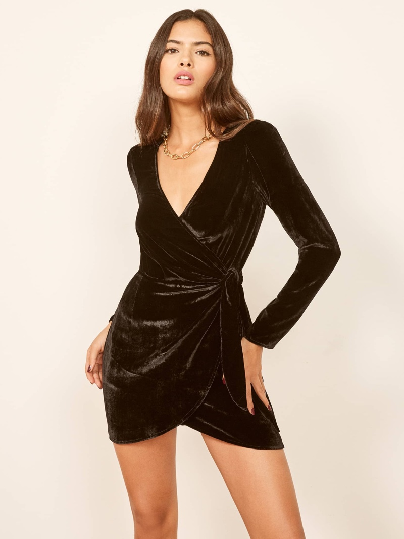 Reformation Bordeau Dress in Black $248