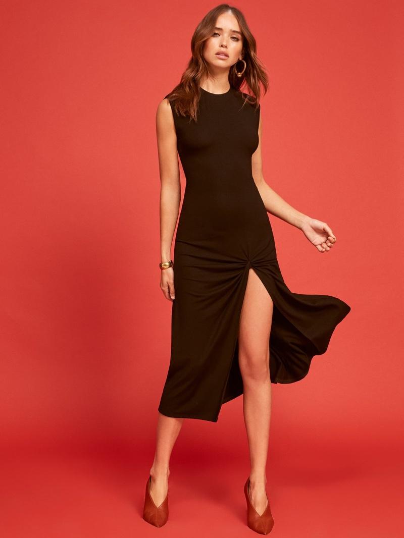 Reformation Izzy Dress in Black $128
