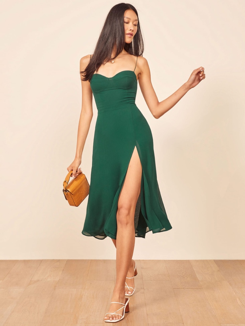 Reformation Juliette Dress in Emerald $218
