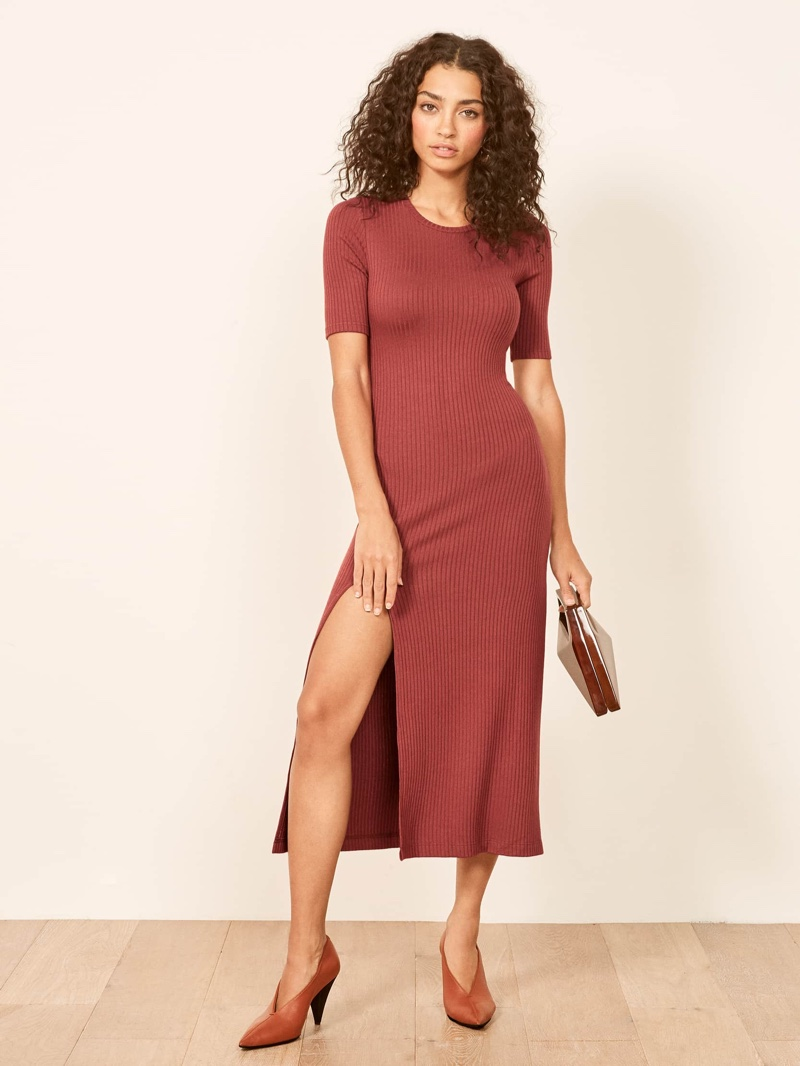 Reformation Olympia Dress in Rust $98