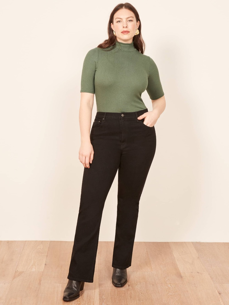 Reformation Plus Sized Candice High Bootcut Jean in Black $98