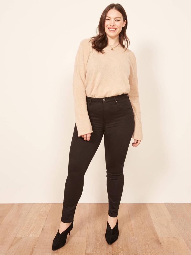 Reformation Plus Size High & Skinny Jean in Black $98