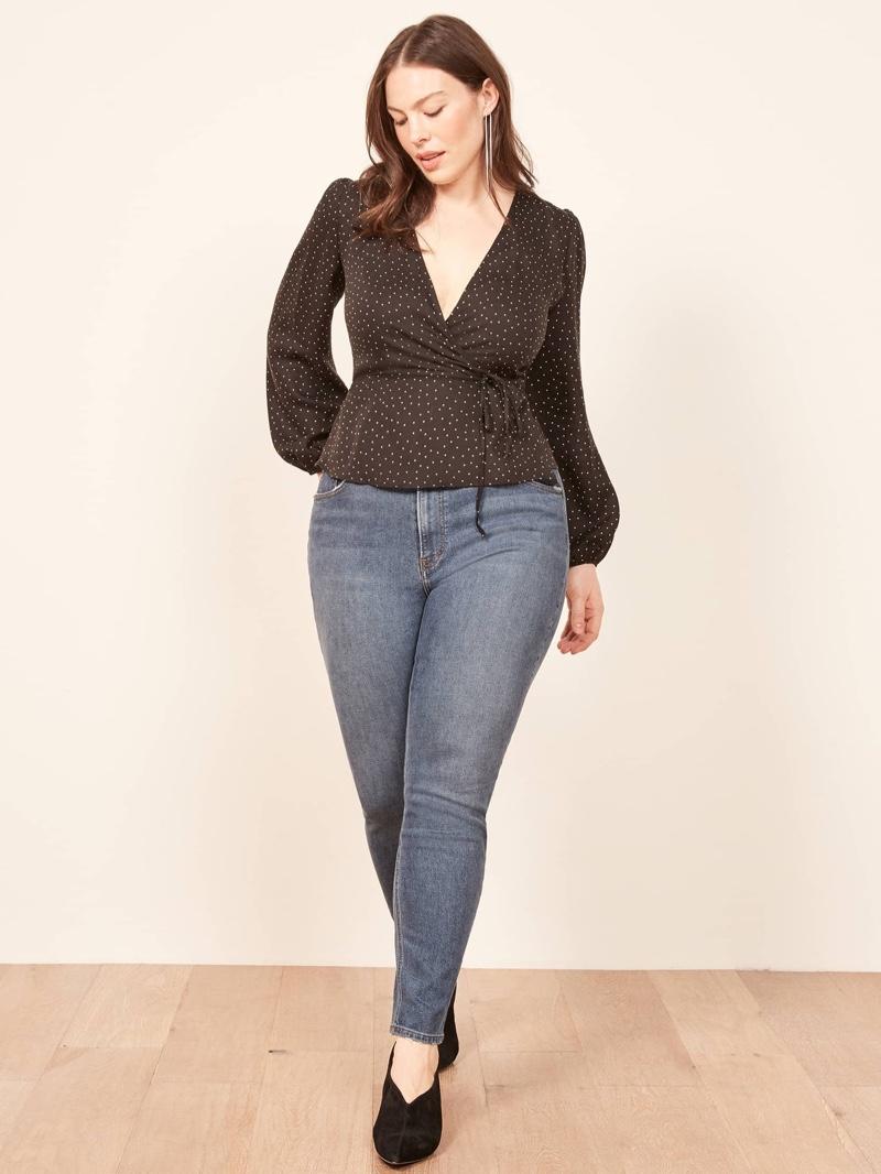 Reformation Plus Sized High & Skinny Jean in Rhine $98
