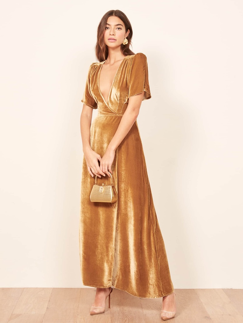 Reformation Tiffany Dress in Gold $278