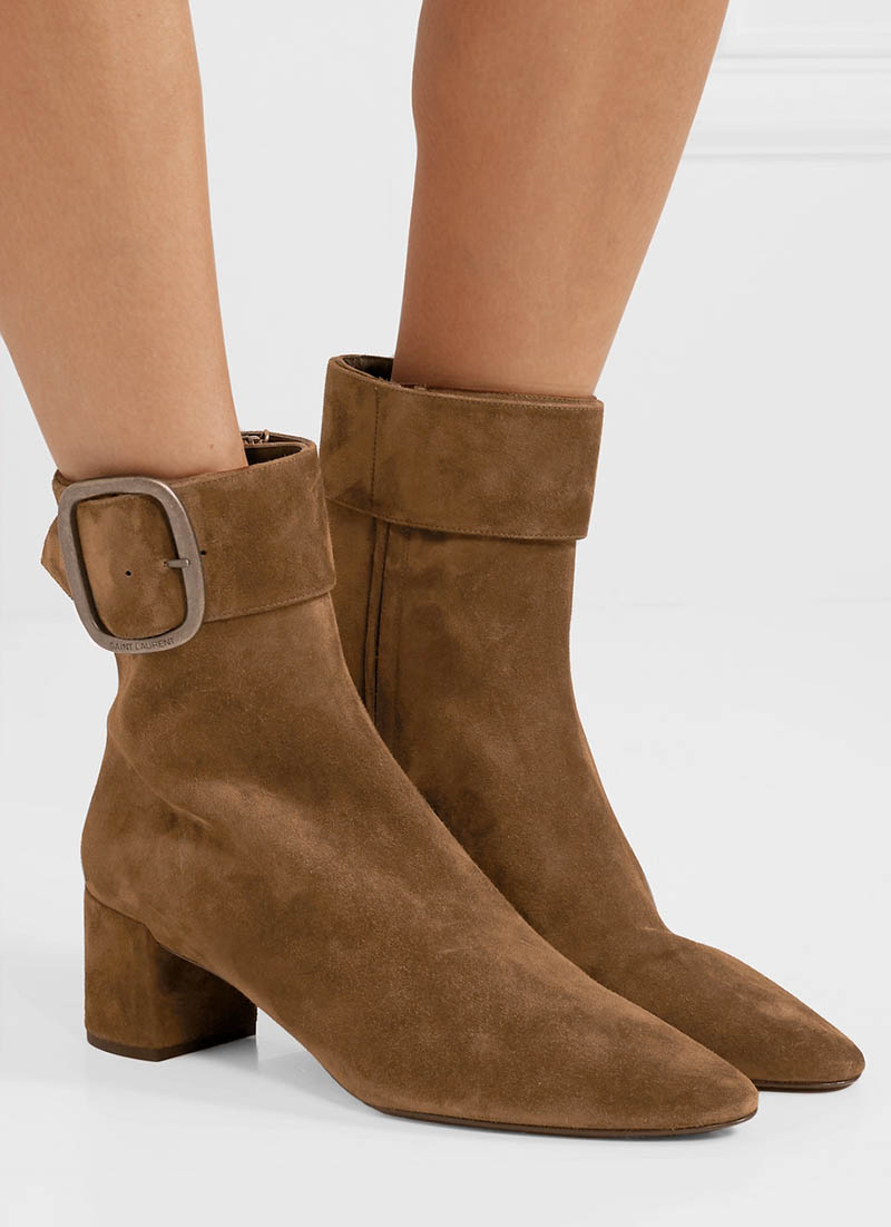 bd51e47aa72bd Saint Laurent Joplin Suede Ankle Boots in Brown  1