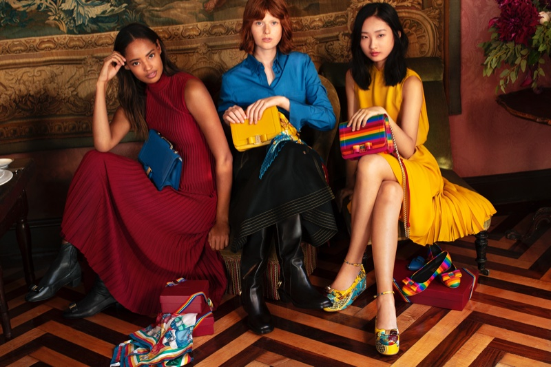 Salvatore Ferragamo features jewel tone fashions in Patchwork Of Characters Holiday 2018 campaign