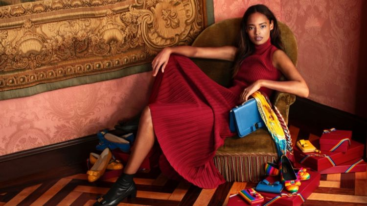 Model Malaika Firth appears in Salvatore Ferragamo Holiday 2018 campaign