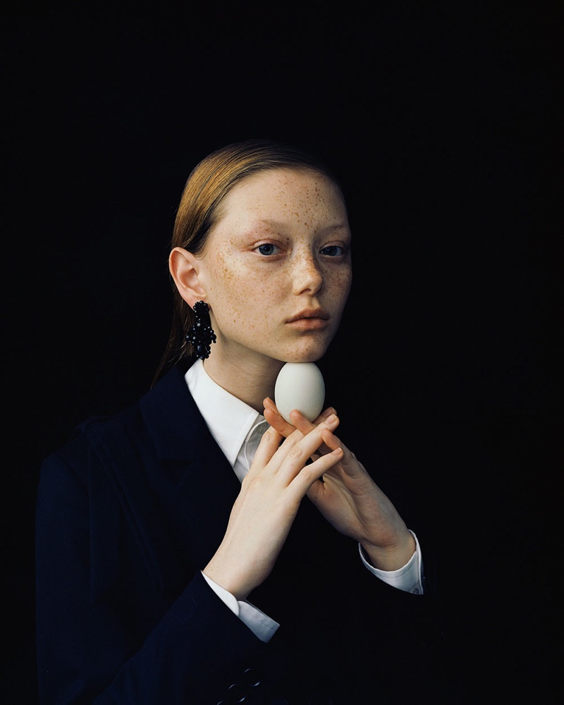 Sara Grace Wallerstedt Models Simone Rocha Looks for A Magazine