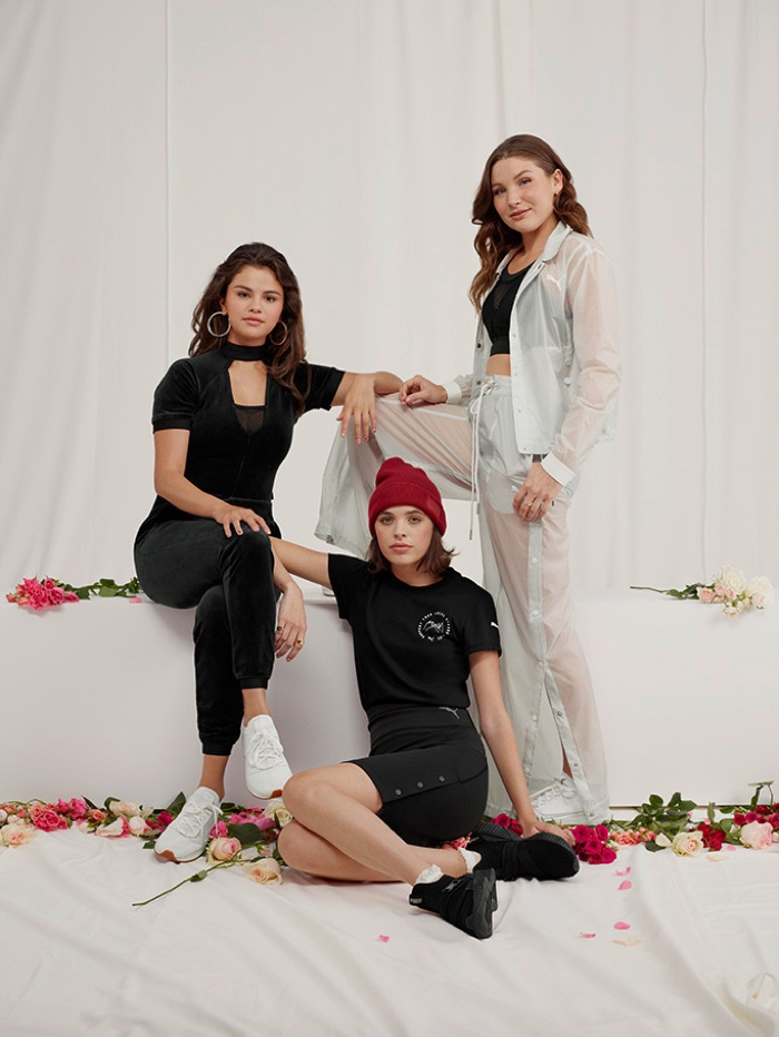 Posing with friends, Selena Gomez wears SG x PUMA Strong Girl collection