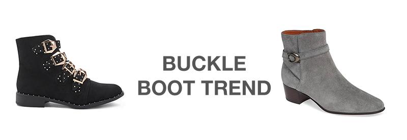 Suede buckle boots women's