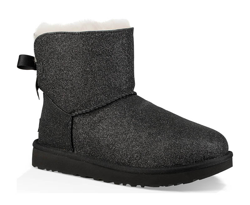 UGG Bailey Bow Sparkle Genuine Shearling Boot in Black $159.95