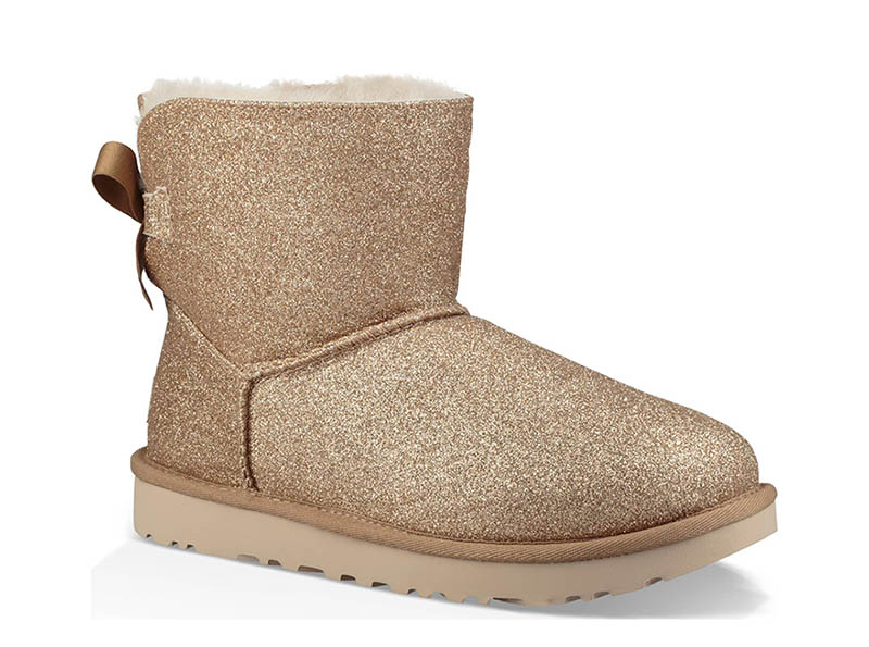 UGG Mini Bailey Bow Sparkle Genuine Shearling Boot in Gold $159.95