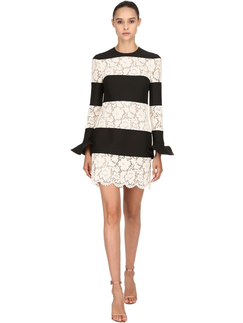 Valentino Striped Wool & Silk Lace Dress $2,786 (previously $3,980)