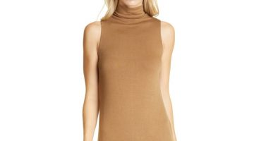 Vince Mock Neck Sleeveless Midi Dress in Oak $157.50 (previously $225)