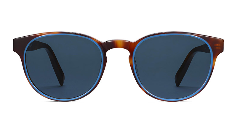 Warby Parker Percey Sunglasses in Oak Barrel with Cerulean $145