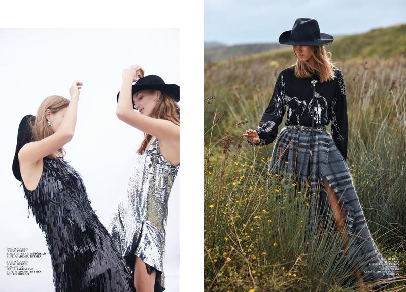 Amalie &Cecilie Moosgaard Wear Western Styles in Marie Claire Turkey