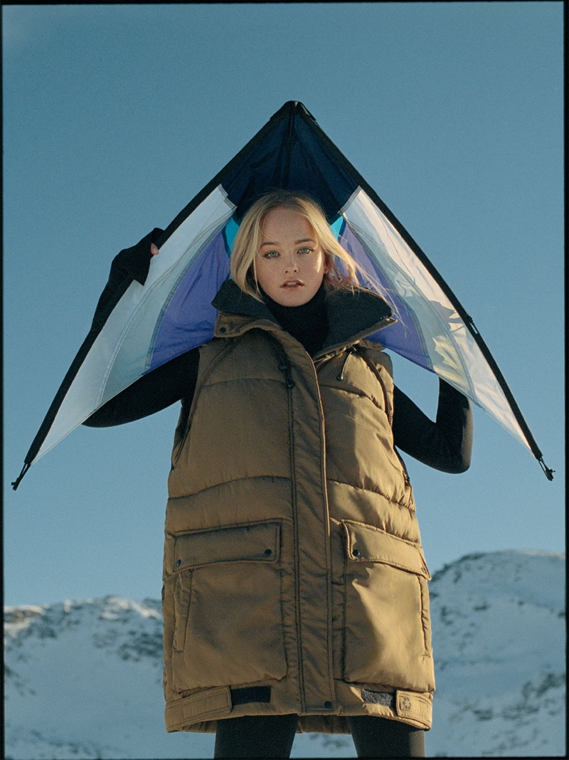 Jean Campbell poses in Zara Recycled Capsule Collection Puffer Jacket