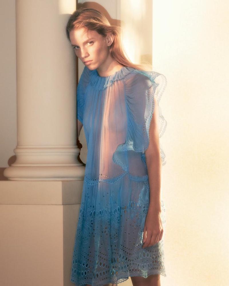 Rebecca Leigh Longendyke wears blue dress in Alberta Ferretti spring-summer 2019 campaign