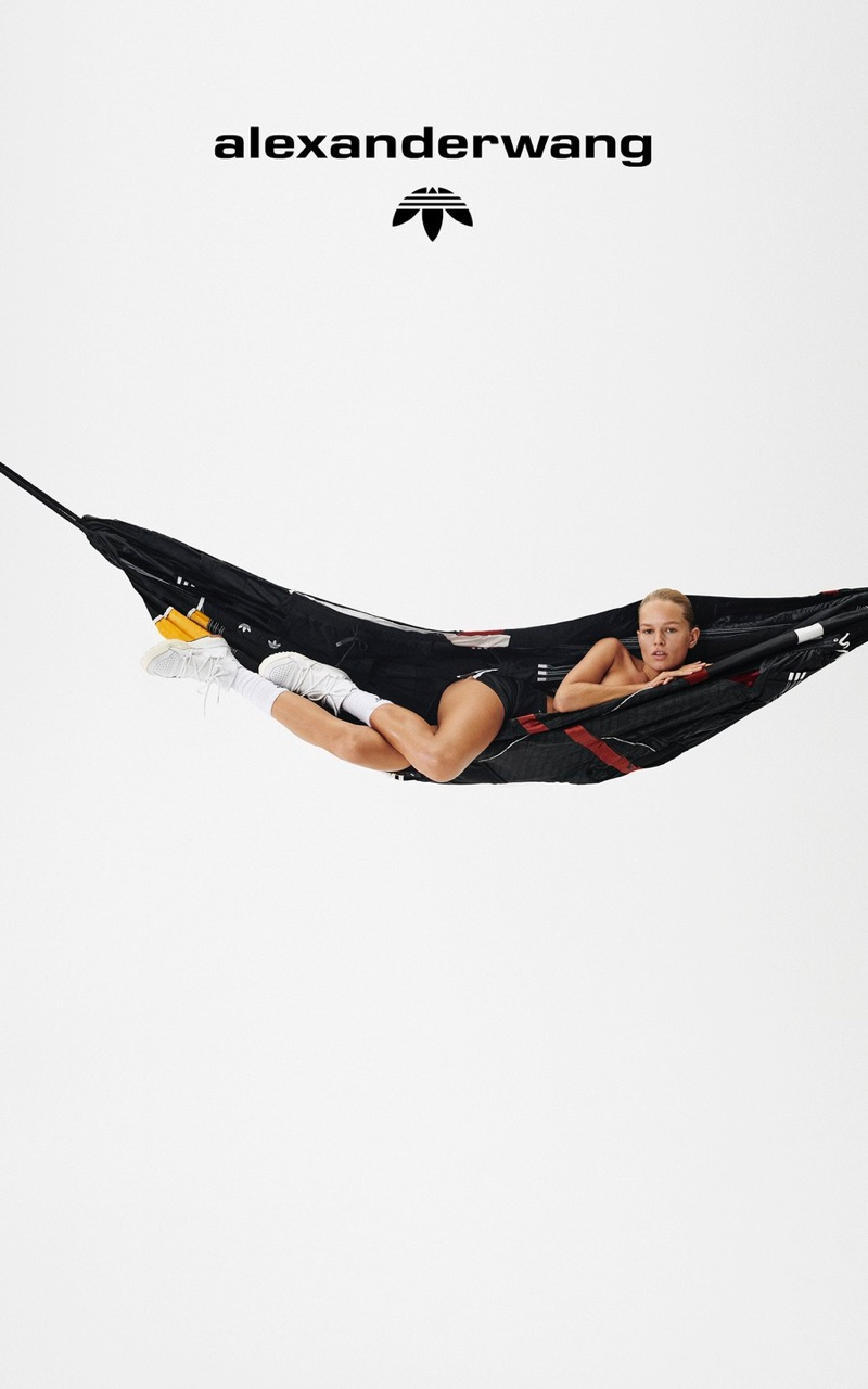 Lounging in a hammock, Anna Ewers fronts adidas Originals by Alexander Wang Collection 4 campaign