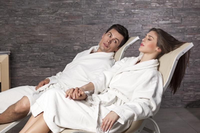 Couple Wearing Bath Robes