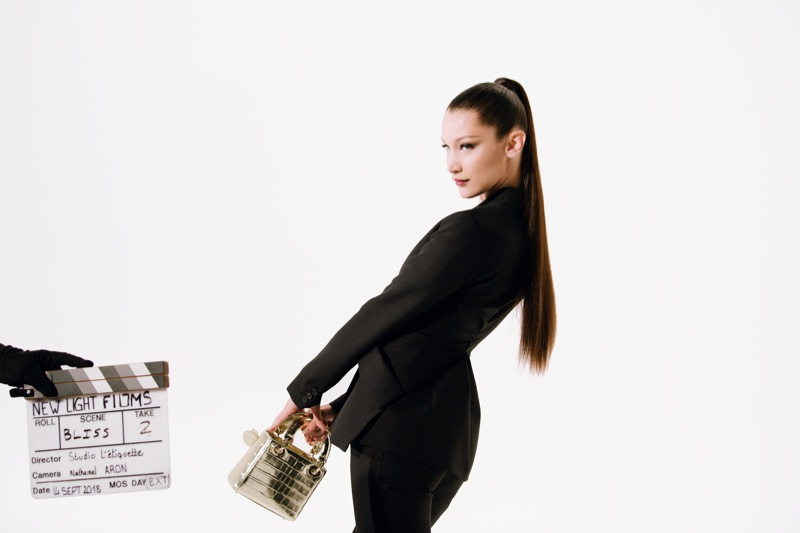Action! Bella Hadid gets glam for Rouge Dior Wishes commercial