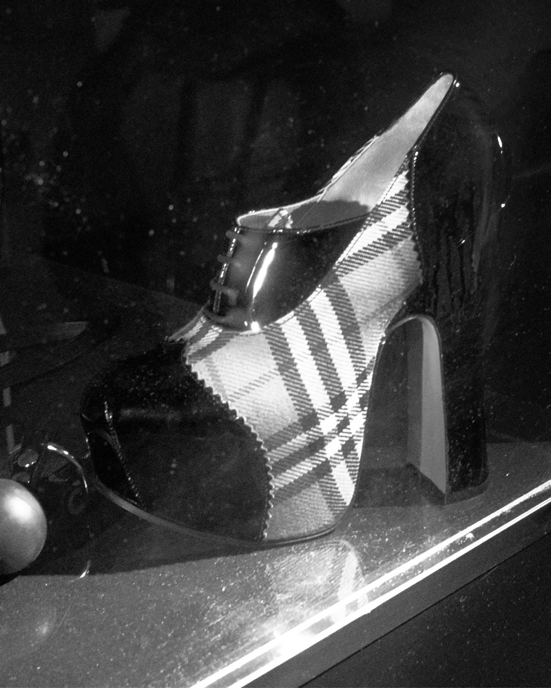 The Burberry check platform designed in collaboration with Vivienne Westwood
