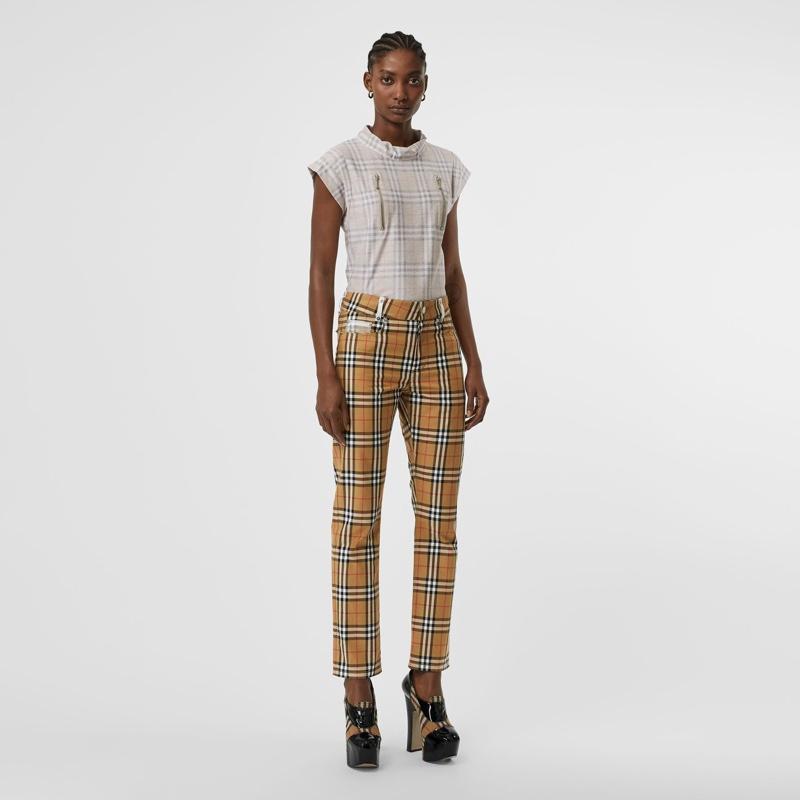 Burberry x Vivienne Westwood Zip Detail Vintage Check Cotton Trousers $690