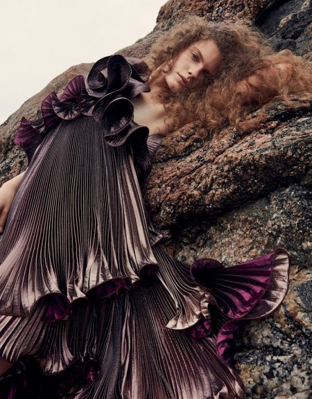 Carolina Burgin Transforms in Dreamy Dresses for Vogue China