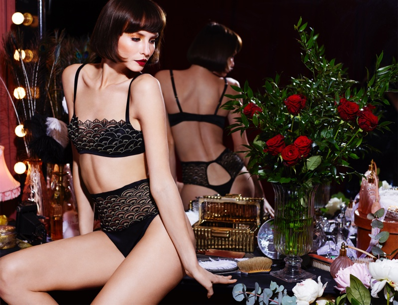 Black lingerie featured in Coco de Mer x V&A collaboration. Photo: Rankin