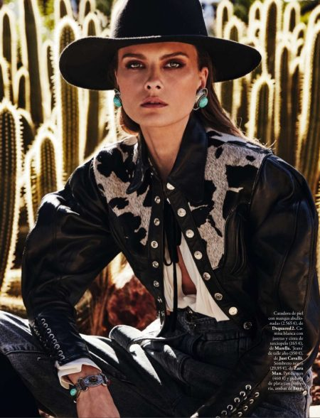 Elena Melnik Takes On the Western Trend for ELLE Spain