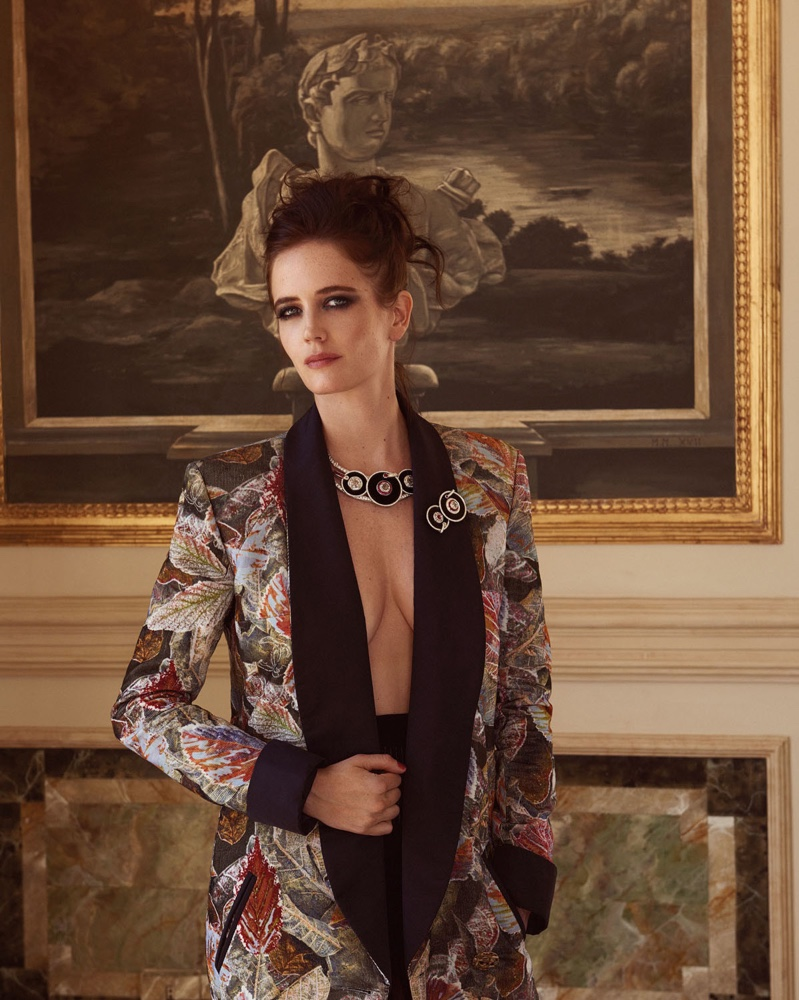 Actress Eva Green wears a Chanel brocade jacket