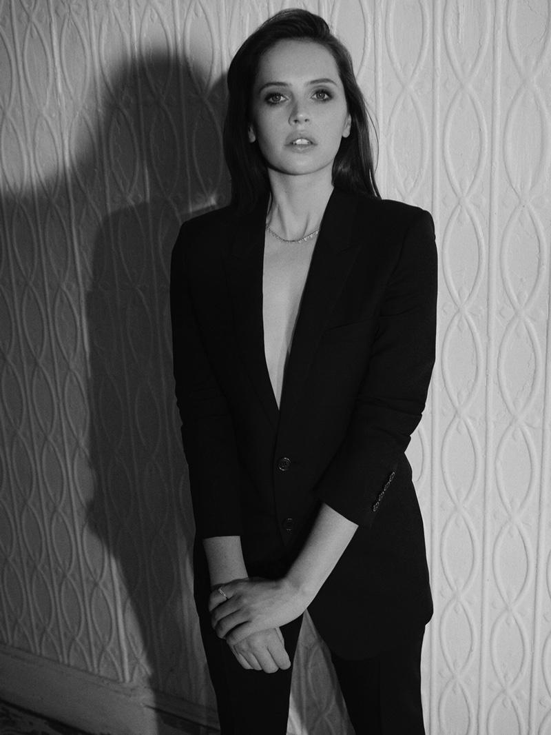 Suiting up, Felicity Jones wears Saint Laurent blazer and pants