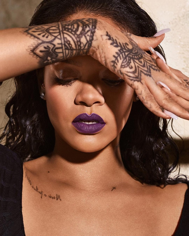 Rihanna wears Violet Fury shade from Fenty Beauty Mattemoiselle lipstick line
