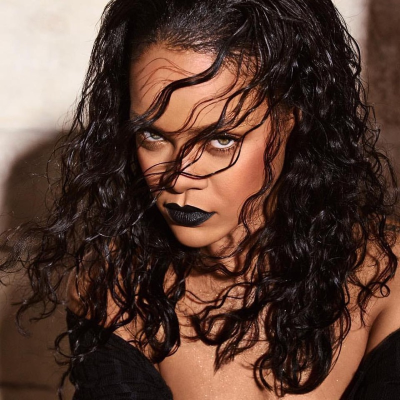 Rihanna looks gothic chic in Fenty Beauty F'N Black Mattemoiselle lipstick