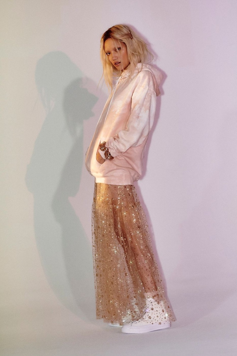 Riverside Tool & Dye Tie Dye Dreamland Pullover $148 and FP One Estella Glitter Maxi Slip Dress $148