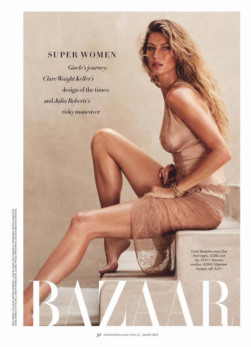 Gisele Bundchen Poses in Relaxed Styles for Harper's Bazaar Australia