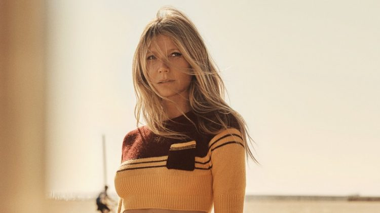 Actress Gwyneth Paltrow wears cropped sweater and striped bikini bottom