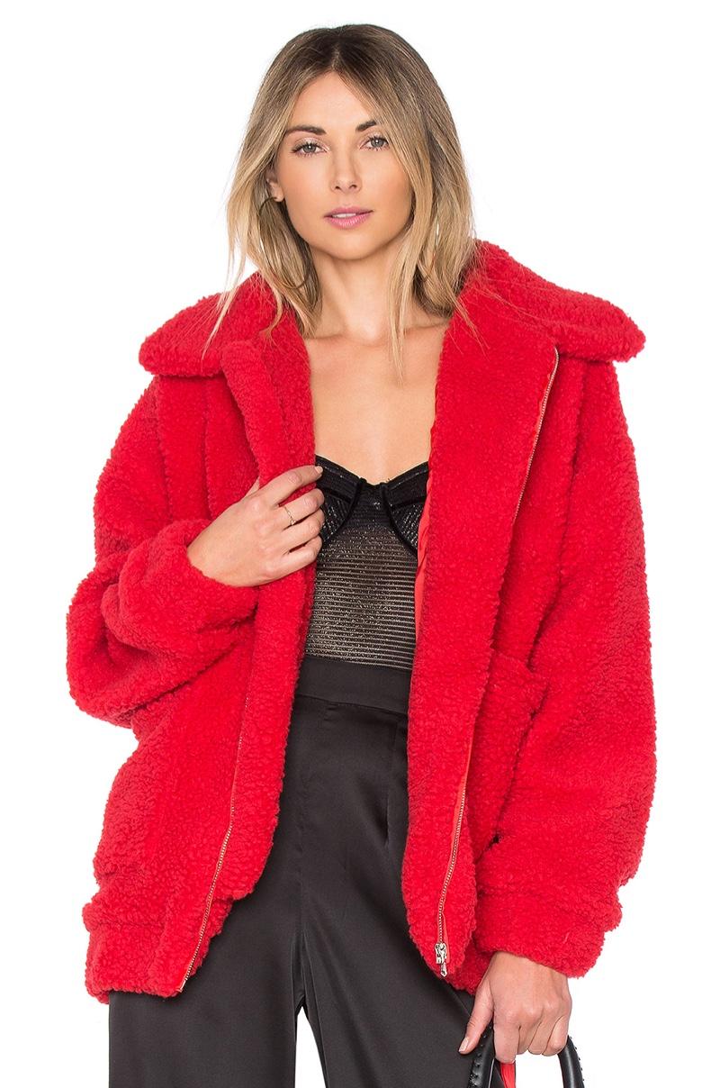 I.AM.GIA Pixie Pile Fleece Coat in Red $120