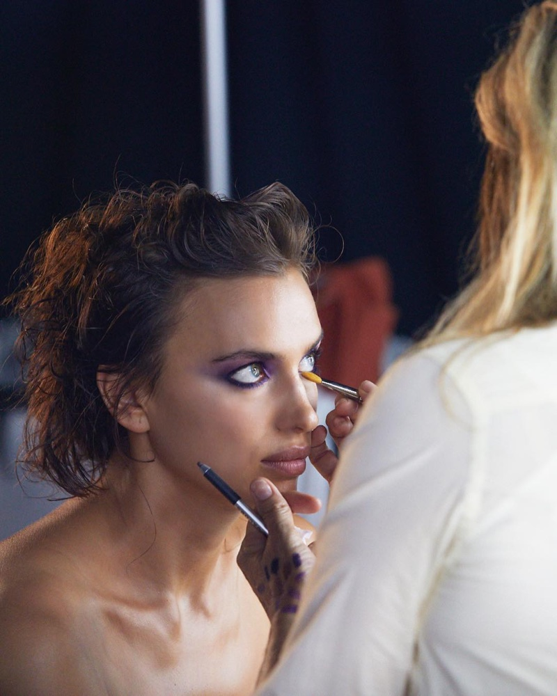 BEHIND THE SCENES: Model Irina Shayk poses on set of Marc Jacobs Beauty shoot