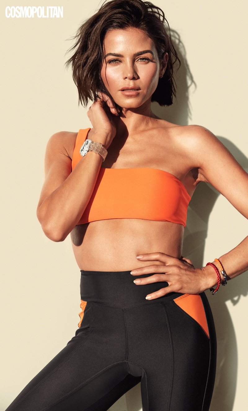 Striking a pose, Jenna Dewan wears a sporty look