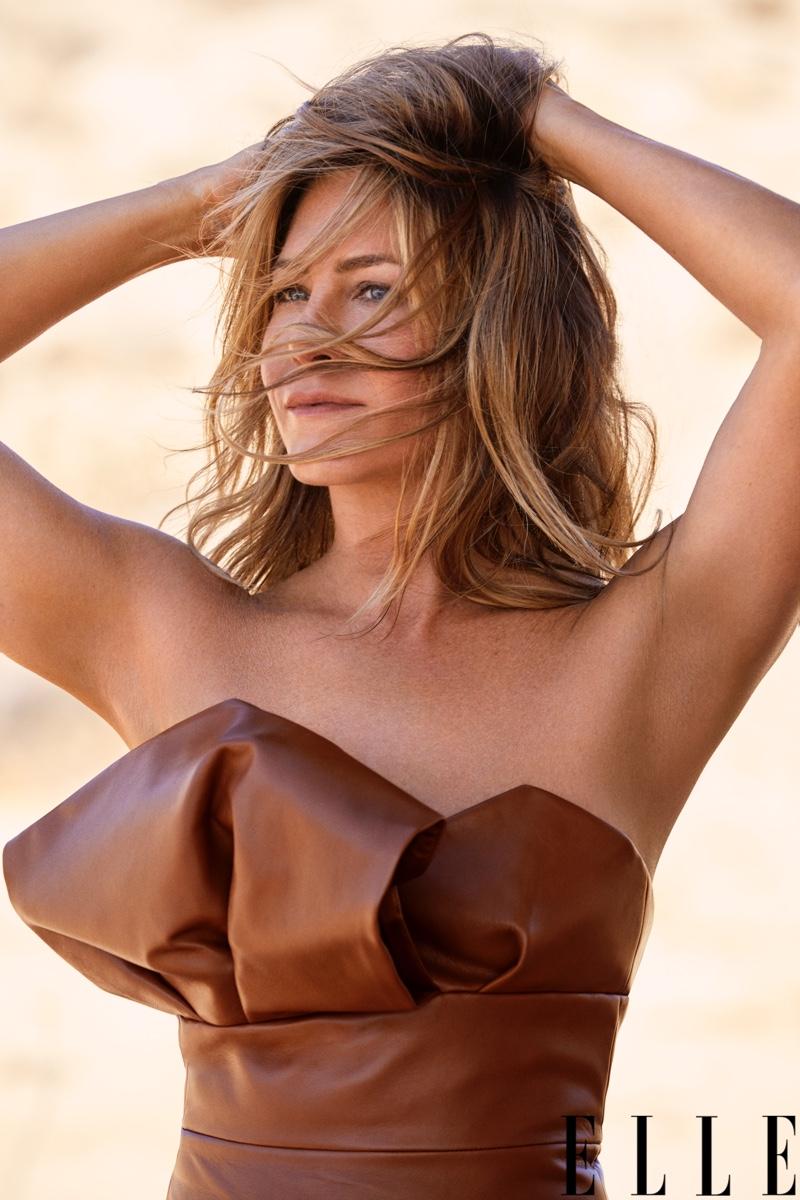 Jennifer Aniston wears Alexandre Vauthier leather dress