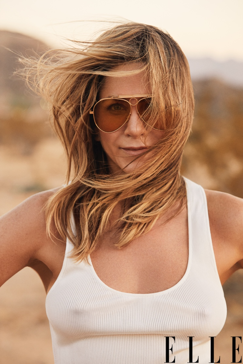 Jennifer Aniston wears Tom Ford tank top and Jacques Marie Mage sunglasses