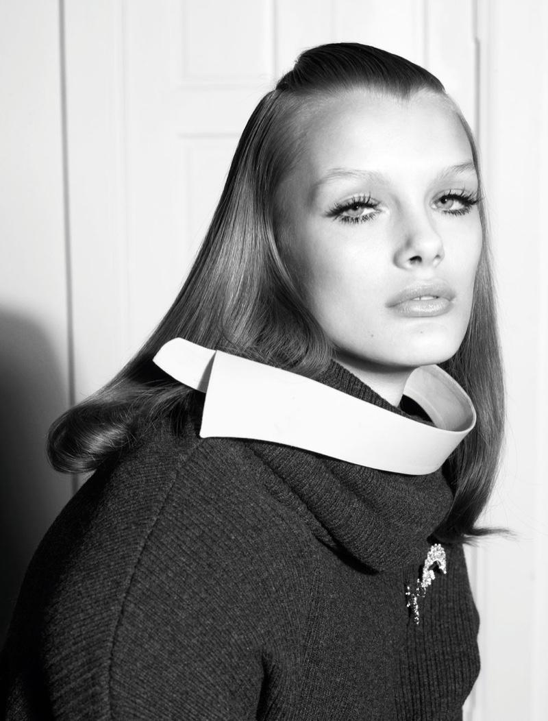 Kris Grikaite Looks Elegant in Black & White for CR Fashion Book
