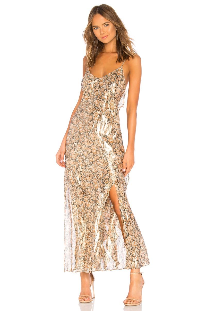 LoveShackFancy Kate Ruffle Slip Dress in Cinnamon $525