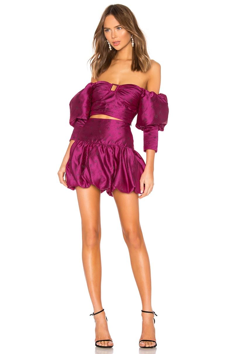 Majorelle Charleston Top $188 and Elena Mini Skirt $178